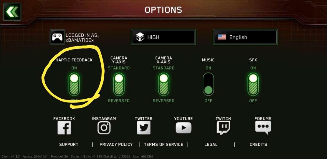feedback button..